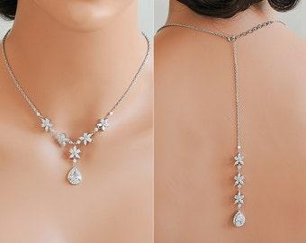 Back Drop Bridal Necklace, Crystal Wedding Necklace, Vintage Style Flower Cluster Backdrop Necklace, Silver Bridal Wedding Jewelry, BRISA