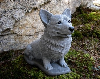 Corgi Statue, Concrete Pembroke Welsh Corgi Dog Figure, Cement Garden Decor, Pet Memorial Headstone, Corgi Grave Marker, Dog Statues.