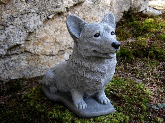 Corgi Statue Concrete Pembroke Welsh Corgi Dog Figure Cement