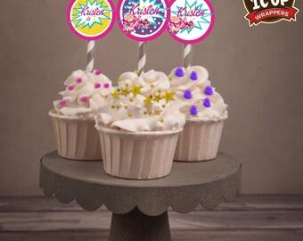 Barbie Princess Power Cupcake Toppers. Personalized Cupcake Toppers, Princess Power, Barbie cupcakes.  Set of 30.