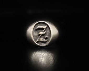 """ArtCarved Initial Signet Ring """"Z"""" Sterling Silver SIZE 9"""