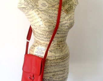 Recycled Red Leather Crossbody Handbag - Lightweight - Upcycled Leather Bag
