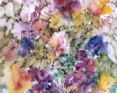 """Abstract Flower Bouquet, Patio Garden, Yellow, Fuchsia, Violet, Indigo Blue, Watercolor Painting Wall Art Home Decor, """"Rhapsody in Bloom"""""""