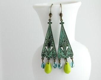 Verdigris Patina Chandelier Earrings, Boho Patina Earrings, Turquoise Boho Earrings, Turquoise Chandelier Earrings, Dangle Earrings, Boho