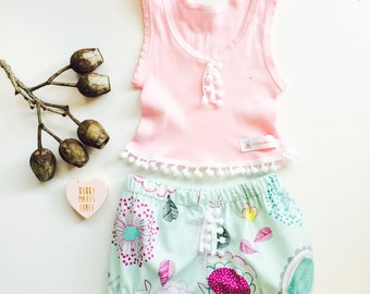 Aqua Modern Floral Bloomers and Pastel Baby crop singlet tank