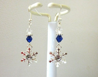 Snowflake Earrings Holiday Christmas Jewelry Silver Blue