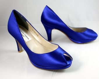"SALE Royal Blue platform wedding shoe- Size 7- 2.75"" heel"
