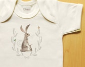 Organic mom n' baby rabbit / hare onesie with crest