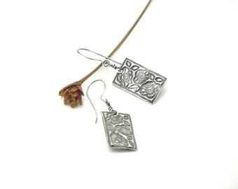 Sterling Silver Flower Rectangle Drop/Dangle Earrings Handcrafted PMC Earthy Eco Friendly Summer Earrings
