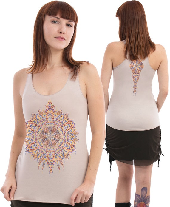 Women Psychedelic Tank In Beige Yoga Top Uv Reactive By