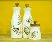 Vintage Fish Oil and Vinegar Cruet Set with Coordinating Sugar Bowl Ceramic Set Wooden Stoppers