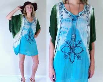 vtg 90s blue, green TIE DYE embroidered TUNIC os boho hippie kimono shirt festival top angel sleeve avant garde