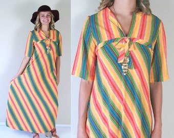 vtg 60s COLORFUL STRIPED terrycloth Maxi DRESS xs/s boho hippie festival tent summer beach rainbow tangerine pink yellow