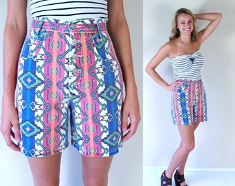 vtg 90s colorful AZTEC PRINT button fly Denim SHORTS Med 26/27 high waisted neon ethnic boho hippie southwestern tribal pants jeans hipste