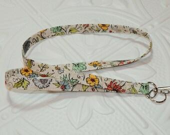 Lanyard - Fabric Lanyard - Teacher Lanyard - Key Lanyard - Floral Print