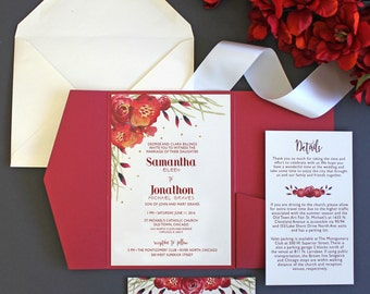 Red Watercolor Flowers Wedding Invitation Package Gold Hand Painted Accents  Response Card Pocketfold