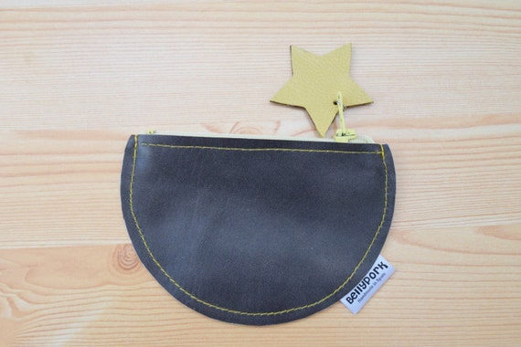 Coin purse,leather coin purse,circle coin purse,stars coin purse,stars purse,gray wallet,leather wallet,gray coin purse,womens coin purse