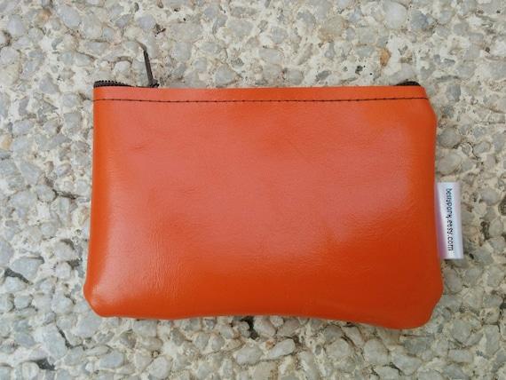 Leather coin purse,coin purse,orange leather purse,orange purse,leather wallet,zippered coin purse,zippered pouch,leather pouch,mini
