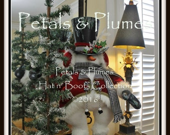"PRE-ORDER-2018-Winter Christmas Snowman Character Stand-Wreath Accent-Petals & Plumes Original Design©-37"" Tall"