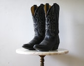 Cowboy Boots Navy - 6.5 7 Women's - Leather White - 1980s Vintage