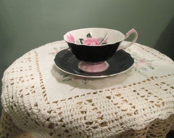 Queen Anne Bone China Teacup And Saucer / Black And Pink Tea Cup Mid Century