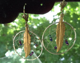 Vintage Dream Catcher Silver Wire Earrings with Feather and Metal Seed Beads
