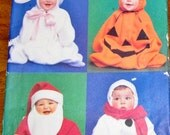 Butterick 6781 Baby Bunting Costumes, Pumpkin Snowman Santa Bunny, Easy Babies Sewing Pattern Size NB S M L XL 13-30 lbs Uncut Factory Folds
