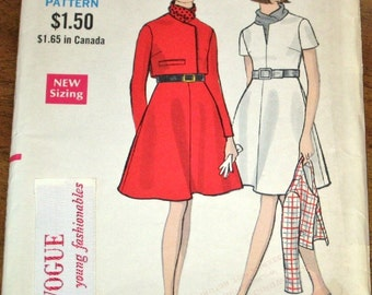 Vogue Young Fashionables 7441 Empire Dress, Jacket Womens Misses Vintage 1960s Sewing Pattern Size 14 Bust 36 Uncut Factory Folds with Label