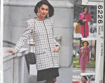 Sew News 6226 from McCall's One or Two Piece Dress Pattern, Sizes 16, 18 20, Vintage 1992