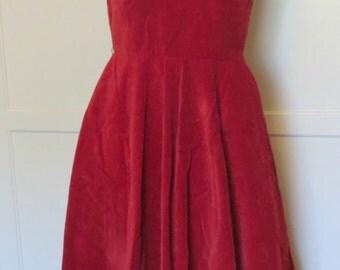 Vintage 50s Red Velvet Sleeveless Dress Full Skirt Pockets Valentine's Day Party Dress Womens Size Small Medium