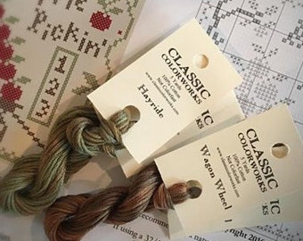 New Colors! HAYRIDE or WAGON WHEEL hand-dyed embroidery floss by Classic Colorworks embroidery floss overdyed thread cross stitch