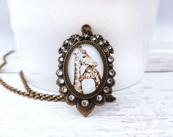 Giraffes Necklace - Handdrawn Giraffes Pendant, Giraffes Jewelry, Animal Art Antique Brass Plated Bronze Jewelry