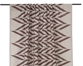 Linen window curtains SALE Brown zigzag printed natural linen and cotton curtain with rod pocket top