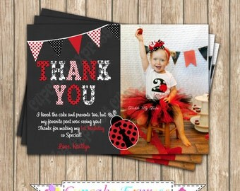 Ladybug Thank You card Birthday Invitation DIY  PRINTABLE Photo chalkboard  5x7 4x6 red black lady bug personalized polka dot