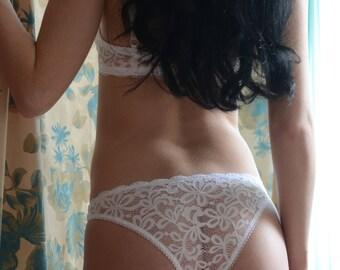 Women Sleepwear & Intimates Panties Handmade Lingerie The Romantic Darling Lacey White Panties MADE TO ORDER