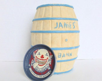 James Candy Company Salt Water Taffy Souvenir Barrel Bank Atlantic City New Jersey NJ Shore Beach
