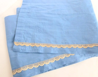 Blue Window Valance with Lace Trim