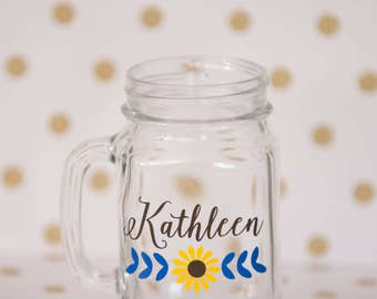 Bridesmaid gift, Wedding Party gifts, Personalized Sunflower Mason Jars. Maid of Honor gift, bridal party favors, spring wedding. Gifts