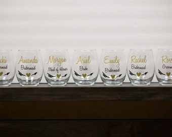 Bridesmaid wine glasses, Bridesmaids gift, Personalized Maid of honor gift. Wedding party gift stemless wine glasses. Bridesmaids gift ideas