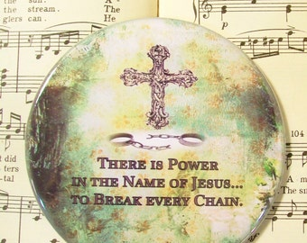 Encouragement Magnet, Religious Magnet, There is Power in the Name of Jesus, Large Magnet, Refrigerator Magnet, Inspirational Magnet