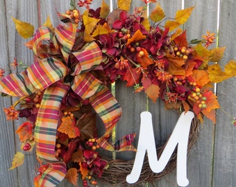 Fall Wreath with Hydrangea, Wreath for Fall, Wreath with Letter, Burgundy Hydrangea and Fall Leaves Wreath, Thanksgiving Halloween Decor