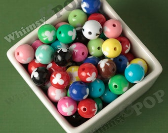 20 - Mixed Colors Club Round Acrylic Beads, Club Beads, Bubble Gum Beads, 16mm, 2mm Hole