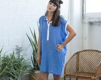 Placket Summer dress, Blue tunic dress, Cotton summer dress, Dress tunic .