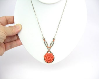 Art Deco Coral Necklace. Orange Celluloid Rose Pendant. Enamel, Sterling Silver Choker, Gold Gilt Wash. Vintage 1930s Art Deco Jewelry