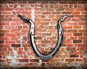 HORSESHOE SCULPTURE - HORSE - Personalized Options Available -  Wall Decoration or Paper Weight - Hand Forged and signed by  Blacksmith Naz