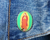 Virgin Guadalupe Pins, Soft Enamel Pin, Mexican, Icon, Saint, Mexico, Gift, Lapel, Jewelry, Art (PIN22)