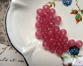 pink glass beads - 26 vintage antique primitive beads with large holes - 1920s - 5mm
