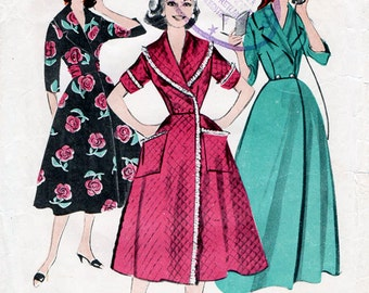 1950s Robe & Brunch Coat Pattern Butterick 8369 Vintage Sewing Pattern Full Skirted House Coat or Wrap Dress with Shawl Collar Bust 32