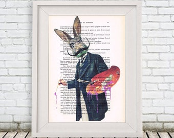 Rabbit painter, Salvador dali Print Print Illustration Acrylic Painting Animal Painting Picture Wall Art deer illustration painting vintage