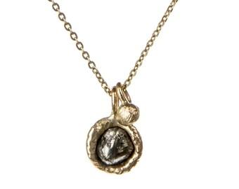 Rough diamond yellow gold pendant, rough diamond necklace, raw diamond gold pendant, uncut diamond gold pendant